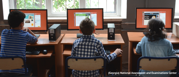 Students working at desktop computers